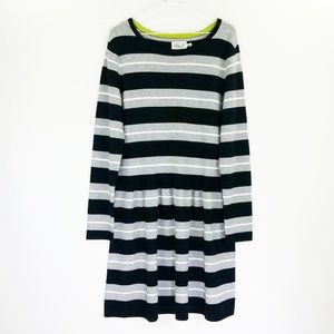 Eliza J Sweater Dress Sz XL Black Gray Striped